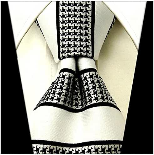 Scott Allan Mens Hound's-tooth Striped Necktie - White and Black