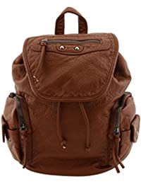 Washed Soft Faux Leather Backpack