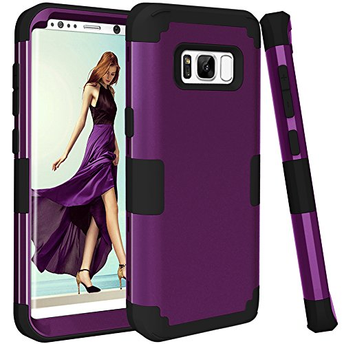 Galaxy S8 Case, KAMII 3in1 [Shockproof] Drop-Protection Hard PC Soft Silicone Combo Hybrid Impact Defender Heavy Duty Full-Body Protective Case Cover for Samsung Galaxy S8 (Purple+Black)