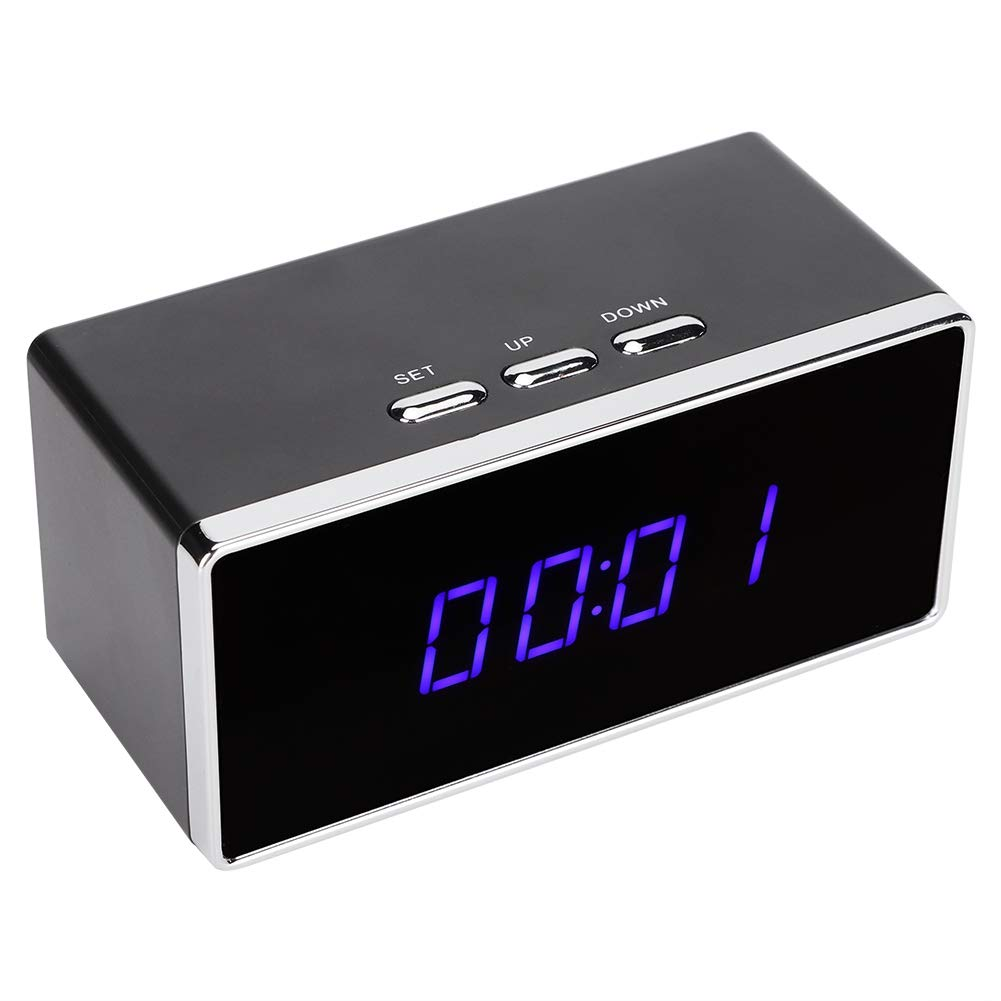 Alarm Clock with Camera, Output 1080P, Easy to Install and Connect to WiFi, Wide Angle, with Night Vision, with Mic, App Control, Camera as Babysitter,Black by Hakeeta