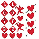 Valentine's Lawn Decorations - Hanging - Cupid, Hearts and ''Love'' (Set of 18)