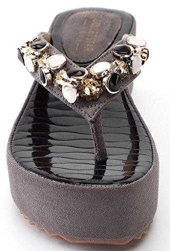 AgeeMi Shoes Mujer Chanclas Plataforma Tacón De Cuña Verano Fiesta Sandalias Gris (EuL16)