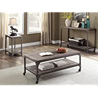 ACME Furniture 81445 Gorden Coffee Table, Weathered Oak & Antique Silver
