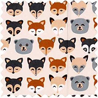 product image for SheetWorld 100% Cotton Flannel Fabric by The Yard, Woodland Animals, 36 x 44