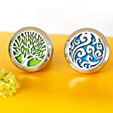 essential oils air freshener - 2PCS Car Air Freshener Aromatherapy Essential Oil Diffuser Vent Clip - Cloud, Tree of Life Stainless Steel Locket