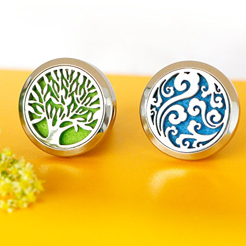 2PCS-Car-Air-Freshener-Aromatherapy-Essential-Oil-Diffuser-Vent-Clip-Cloud-Tree-of-Life-Stainless-Steel-Locket