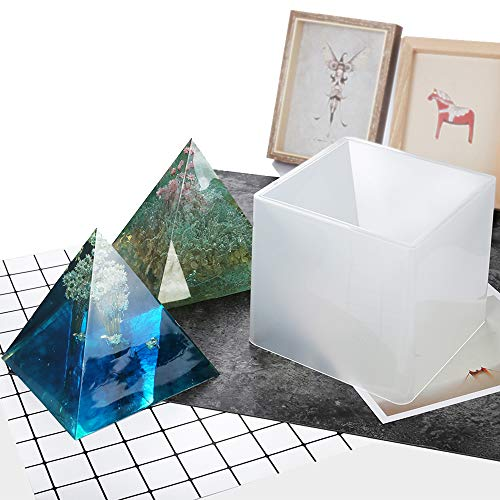 (ARTSTORE 1pc Large Silicone Pyramid DIY Molds,Resin Craft Jewelry Crystal Mold + Plastic Frame,15cm/5.9