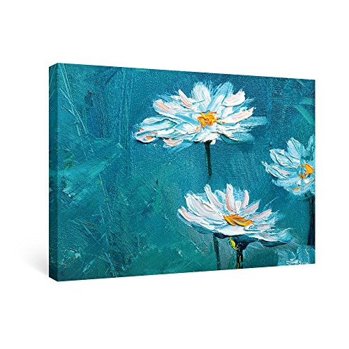 - SUMGAR Canvas Wall Art Bedroom Blue Pictures White Flower Paintings Floral Daisy Artwork Prints,24x16 inch