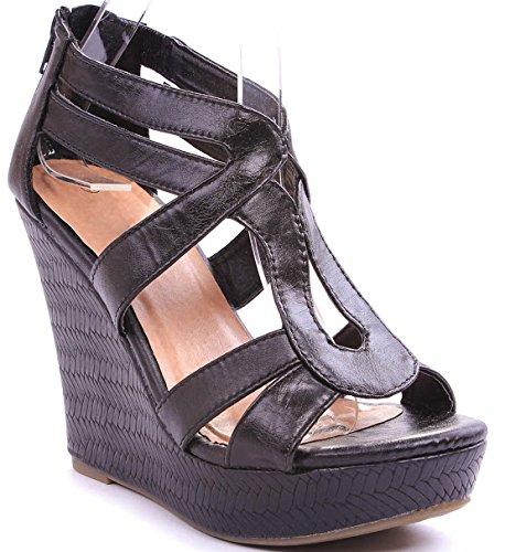 JJF Shoes Lindy-1 Black Faux Leather Gladiator Strappy Dress Platform High Wedge Sandals-8 ()
