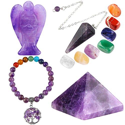 - mookaitedecor Amethyst Healing Crystals Set, 7 Chakra Bracelet, Palm Stones, Pendulum, Pocket Guardian Angel, Pyramid Meditation Kits for Reiki,Balancing