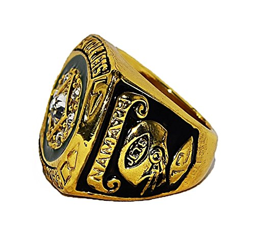 NEW YORK JETS (Joe Namath) 1968 SUPER BOWL III WORLD CHAMPIONS Vintage Rare & Collectible High Quality Replica NFL Football Gold Championship Ring with Cherrywood Display Box