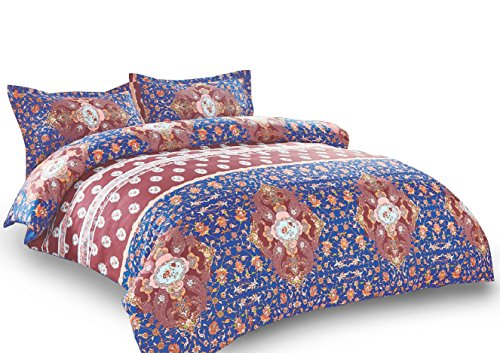 Wake In Cloud - Bohemian Comforter Set Queen, 3-Piece Mandala Boho chic Medallion Pattern Printed, Soft Microfiber Bedding (3pcs, Queen Size)