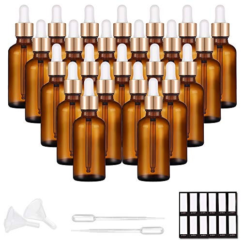 PrettyCare Eye Dropper Bottle 1 oz (24 Pack Amber Glass Bottles 30ml with Golden Caps, 48 Labels, Funnel & Measured Pipettes) Empty Tincture Bottles for Essential Oils ()