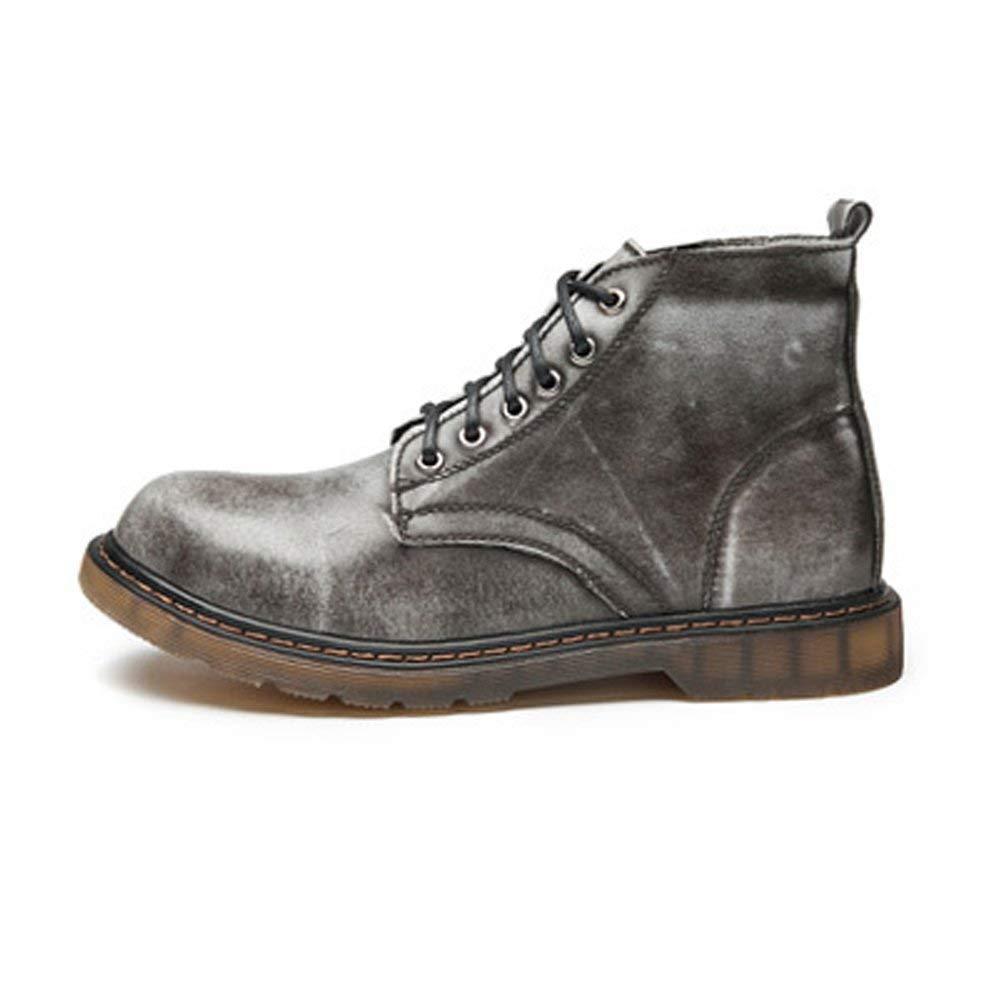 FuweiEncore Herrenschuhe Klassische Leder Schnürschuhe Oxfords High Top Stiefeletten für Herren (Farbe   Grau, Größe   39 EU) (Farbe   Grau, Größe   44 EU)
