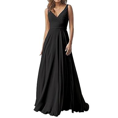 WHZZ Elegant Double V-Neck Bridesmaid Dresses Chiffon Long Women Wedding Guest Dress