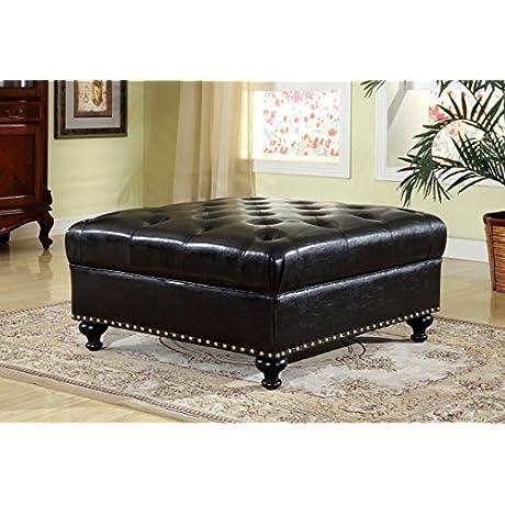 Furniture Of America Roderick Contemporary Leatherette Ottoman Black