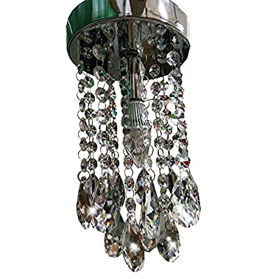 NAVIMC Mini Chrome Finish Crystal Chandelier for Girls Room Teardrop Pendant Lamp,1 LED Bulb,7W