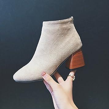 KHSKX-Mit Groben Heels Weibliche Stiefel Martin Nackt Kurze Kanister  Stiefel Schuhe Mit Reißverschluss Flut