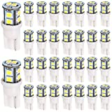 30-Pack T10 194 168 2825 175 W5W White Extremely Bright 10-SMD 2835 LED Light 12V Car Replacement Bulb Map Dome Courtesy Side Marker License Plate Light