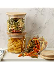 """Gala Houseware Glass Food Storage Containers Set, Glass Canister Set Airtight Coffee Container with Bamboo Lids, Set of 3 Glass Containers Organizer, Pantry Organizers and Storage, Kitchen Organizer, Flour Container & Cookie Jar. (D: 3.94"""" x H: 3.9"""")"""
