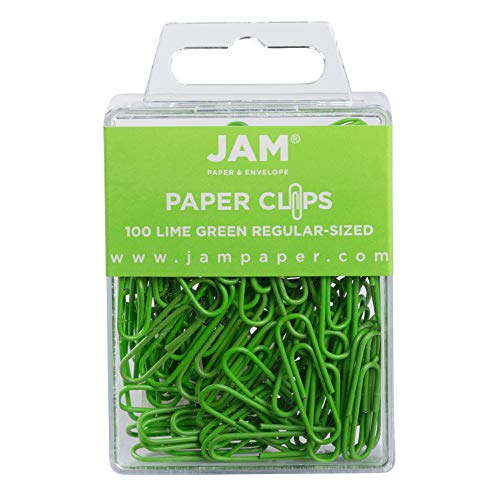 JAM PAPER Colorful Standard Paper Clips - Small 1 Inch - Lime Green Paperclips - 100/Pack