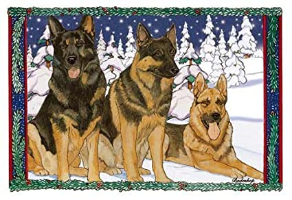 german shepherd christmas cards 10 holiday cards with envelopes - Animal Christmas Cards