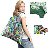 Foldable Bags for Shopping with Top Zipper Recycle Folding Bag for Travel Beach Shopper Women Reusable Grocery Bags Washable Waterproof Lightweight Sturdy Folded Fashion Bag with Pouch Cute