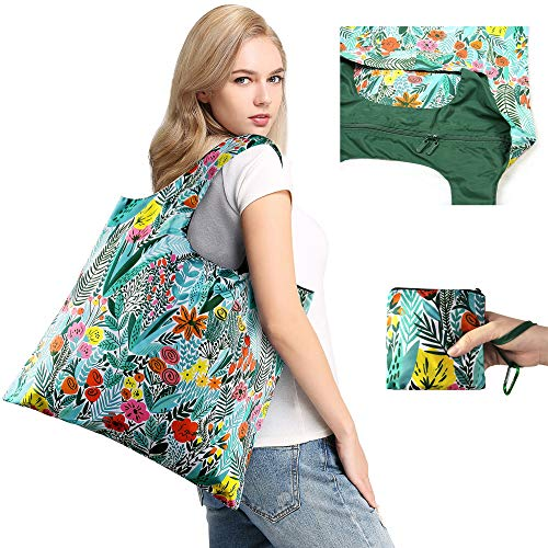 Foldable Bags for Shopping with Top Zipper Recycle Folding Bag for Travel Beach Shopper Women Reusable Grocery Bags Washable Waterproof Lightweight Sturdy Folded Fashion Bag with Pouch Cute ()