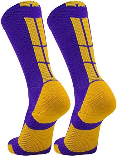 TCK Elite Performance Crew Socks (Purple/Gold, Medium)