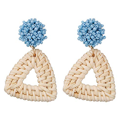 Polygon Bead - Creative Geometric Polygon Handmade Rice Beads Rattan Earrings Ladies Jewelry Gifts (Blue)