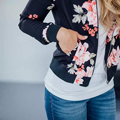 Sweatshirt BZLine Femme Fashion Floral Chic Grande Taille d'hiver Outwear Noir Coat Veste rZrqFSfAw