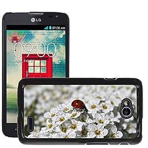 Super Stella Slim PC Hard Case Cover Skin Armor Shell Protection // M00148394 Summer Flowers Shrub White Ladybug // LG Optimus L70 MS323