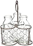 Blossom Bucket Rustic Triple Glass Bottles with Wire, 4.75'' x 6.50''