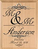 Broad Bay Same Sex MR & MR Wedding Gift Sign Personalized Family Name MR. and MR. Gay Union Gift Plaque