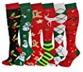 6 Pairs Women's Fancy Design Multi Colorful Patterned Knee High Socks