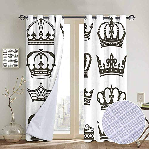 "Price comparison product image Modern Farmhouse Country Curtains King, Symbol of Royalty Crowns Tiaras for Reign Noble Queen Prince Princess Cartoon Desgin, Army Green, Design Drapes 2 Panels Bedroom Kitchen Curtains 84""x100"""