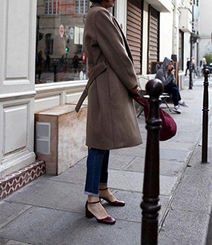 MEILI Zapatos de cabeza cuadrados Zapatos de verano con boca baja con sandalias femeninas red wine