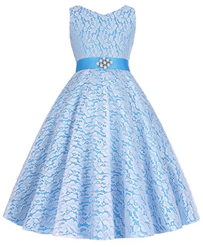 Sleeveless Flower Girl Lace Bridesmaid Wedding Dresses (7-8yrs, 8938-5)