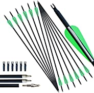 Enxi Archery 30inch Mixed Carbon Arrow Practice Hunting Arrows for Compound & Recurve & Traditi