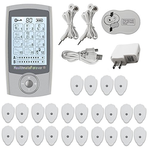 12 Modes Best Portable Digital Muscle Pulse Device + 10 Pairs of Replacement Long Life Pads Great for Muscle Soreness Relief LIFETIME WARRANTY FDA CLEARED Pro12AB HealthmateForever-Silver by HealthmateForever (Image #1)