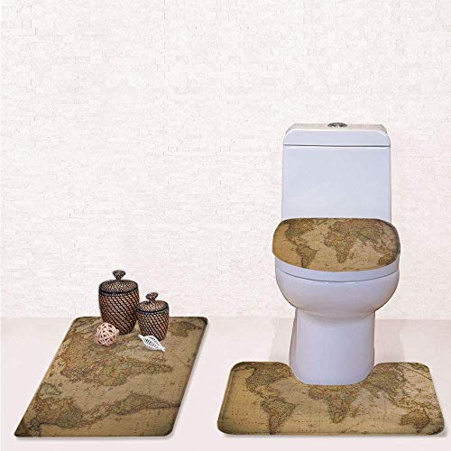 Print 3 Pcss Bathroom Rug Set Contour Mat Toilet Seat Cover,Anthique Old World Map in Retro Color with Vintage Nostalgic Design Art Print Deco with Cream,decorate bathroom,entrance door,kitchen,bed