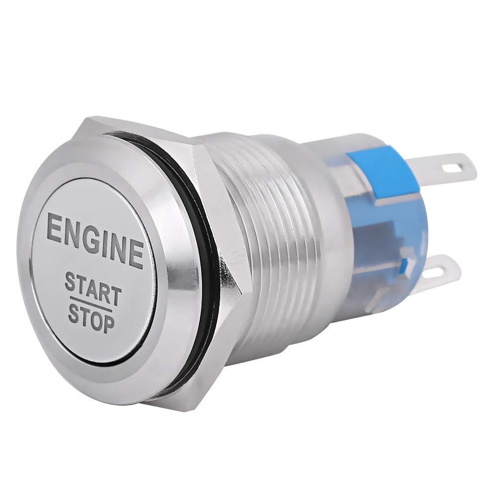 Silver Engine Start Switch 12V White LED Car Engine Start Stop Push Button Switch