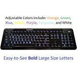 Ivation Seven Color Adjustable Letter Illuminated Large Print Full Size Multimedia Computer Keyboard