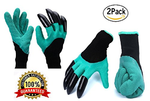 Garden glove with fingertip claws 2 Pack, Garden Genie AS SEEN ON TV, Digging Gloves for planting pruning gardening JordanLee Product