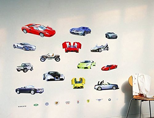 Wall Sticker Decal 14 Sports and Luxury Car Series Kids Bedroom and Kindergarten Mural Home Decor DIY Plastic Self Adhesive Removable by Sunshine Homes (Image #1)