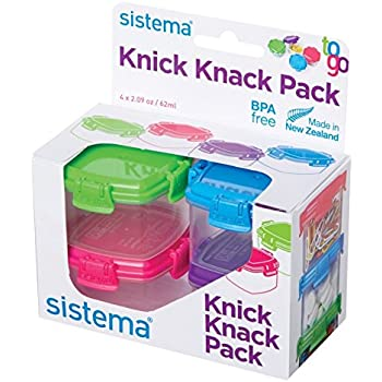 Sistema To Go Collection Mini Knick Knack Snack Container, 2 oz./60 mL, Pink/Green/Blue/Purple, 4 Count