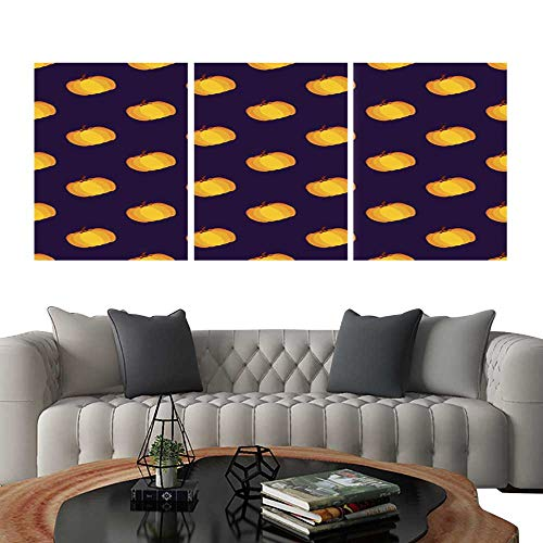 UHOO Canvas Print Wall Art Purple Yellow Holiday Seamless Halloween Pattern. Art Stickers 16