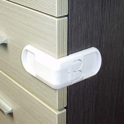 POPNINGKS New Child Furniture Latches 5 PCs Baby Proofing Safety Lock for Door Fridge Cupboard Cabinet Drawer-Great for Pet White: Clothing