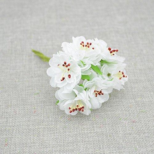 6pcs Silk Stamen Daisy Artificial Flowers handmade flowers Wedding Wreath Fake (Japan China Silver Wreath)