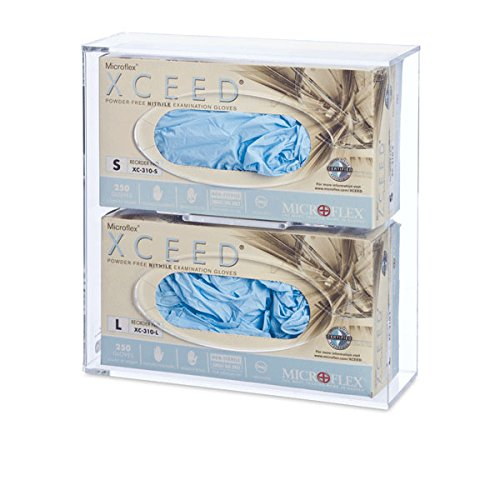 Double Side-Loading Glove Box Dispenser Holder, Clear Acrylic
